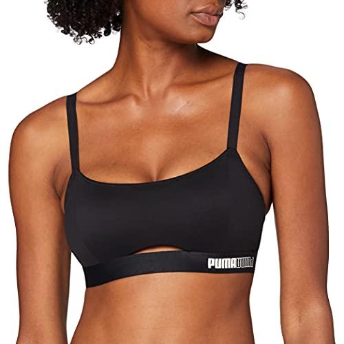 PUMA Padded Sporty Top Sujetador, Negro, S para Mujer