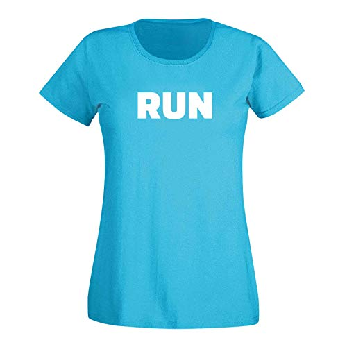 T-Shirt Run Laufen Joggen Marathon Sport Fitness 15 Farben Damen XS-3XL Cross-Fit Calisthenics Leichtathletik Training Athletics, Größenauswahl:3XL, Farbauswahl:Azure/türkis - Logo Weiss