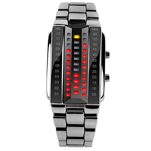 Reloj digital de LED SKMEI para mujer, correa de aleación de zinc, cristal 3D a prueba de golpes, resistente al agua, color plata