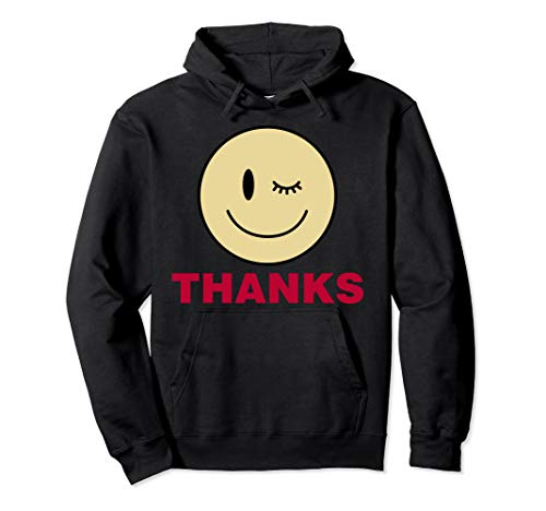 Winky Smiley Face With Thanks Graphic Pullover Hoodie