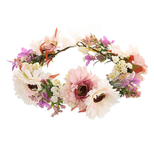 Ever Fairy Boho blumenkranz haare Girlande Stirnband Mädchen Verstellbare Band Kranz für Frauen Hochzeit