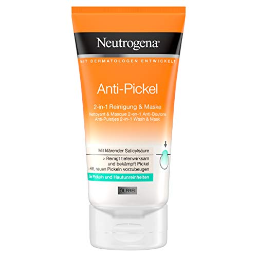Neutrogena Anti-Pickel 2-in-1 Reinigung und Maske, Mit klärender Salicylsäure gegen Pickel und Unreinheiten, 150 ml