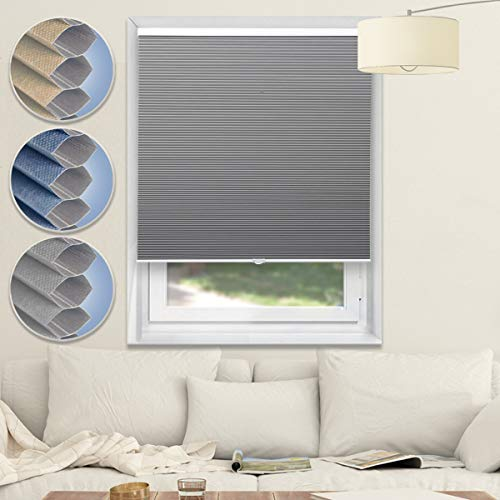 Blackout Shades Cordless Blinds Cellular Shades Honeycomb Window Shades for Home and Office,Grey-White, 31x64