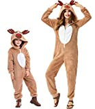 Pigiama Animale Kigurumi Renna Tuta Intera Costume Carnevale Halloween Cosplay, in Materiale Pile, Caldo...
