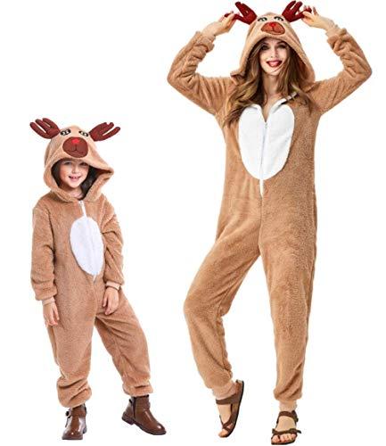 Pigiama Animale Kigurumi Renna Tuta Intera Costume Carnevale Halloween Cosplay, in Materiale Pile, Caldo e Morbido, Altezza 135-145cm, Massimo 37 Kg-Renna/140