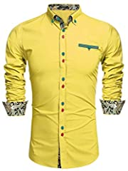Material: Cotton Blend, very high quality Features: Solid pattern,Long Sleeve, Turn Down Neck, COOFANDY provides the coolest and stylist button down shirt which makes you more fashion and handsome Suitable for: This mens shirt with many kind of color...