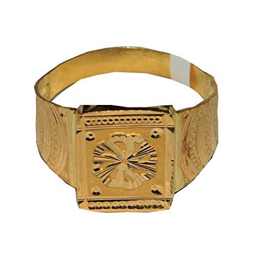 Satfale Jewellers Anillo para Hombre Certificado con diseño de Rueda de Oro Fino Amarillo de 22 Quilates sólido