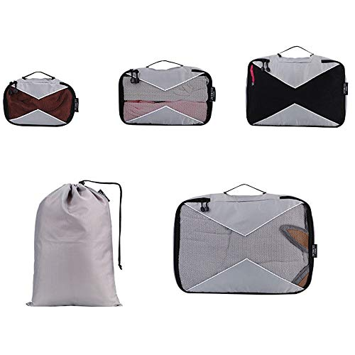 ROGF Travel Storage Bag Compression Pouches Clothes Suitcase 5 Set Polyester Mesh Packing Cubes Set For Travel Luggage Organiser Bag (Color:Gray) For travel (Color : Gray, Size : Free Size)