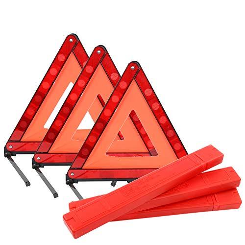 YaeKoo Triple Warning Triangle in Storage Case Foldable Emergency Warning Triangle Reflector Safety Triangle Kit, Foldable Reflective Car Roadside Safety Warning Sign, 3-Pack