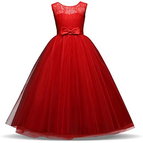 TTYAOVO Mädchen Festzug Ballkleider Kinder Bowknot Brautkleid (Größe150) 9-10 Jahre 331 Rot