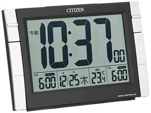 シチズン 目覚まし時計 電波 デジタル パルデジットワイドDS ダブル アラーム 温度 カレンダー 黒 CITIZEN 8RZ150-002