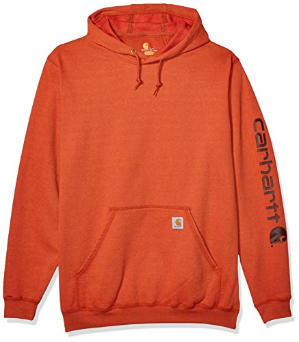 Carhartt Herren Midweight Sleeve Logo Hooded Sweatshirt Kapuzenpulli, Amber Wood Heather, 4X-Large