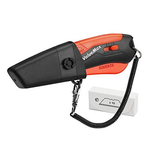 ValueMax Sicherheitsmesser Cuttermesser Universalmesser mit Arretierung, Kunststoffscheide und Gürtelclip inkl. 14 Ersatzklingen, perfekt für Schneiden zum Papier, Karton, Leder usw.