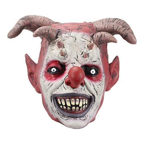STOBOK Clownsmaske mit Horn Gruselige Schreckliche Dämonenmaske für Halloween-Kostüm Cosplay Streich Dress Up Requisiten Party Gefälligkeiten