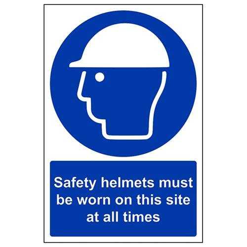 VSafety 41001AU-R 'Safety Helmets Must Be Worn On This Site At All Times' - Cartello obbligatorio in plastica rigida, verticale, 200 mm x 300 mm, blu