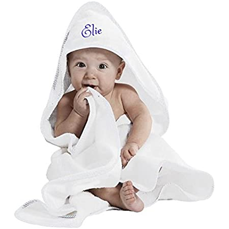 HOODED TOWEL embroidered with a PENGUIN in HAT and Personalised Name 0-5 year