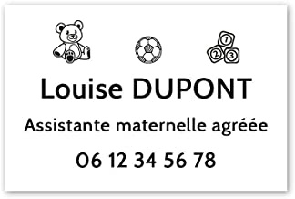 Personaliseerbaar bord voor de kleuterschool, personaliseerbaar, 30 x 20 cm, witte zwarte letters en 3M-plakband