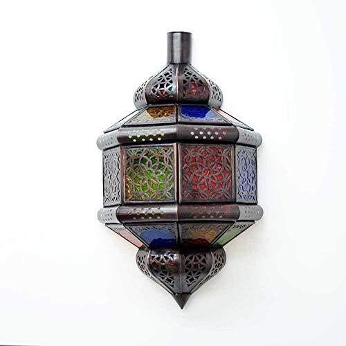 Orientalische Wandleuchte Bunt H 37 cm Wandlampe Innen aus Glas/Metall aus 1001 Nacht | 100{e2a999974f70f5e617456b27b07a0ed99d1d7535cc4617136db6fdc5aac8ee0e} traditionelle Handarbeit
