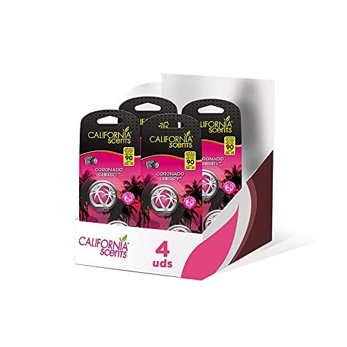 California Scents Pack de 4 Ambientador de Coche con Fragancia, Olor y Esencias a Coronado Cherry, Aroma a Piruleta de Cereza, Minidifusores
