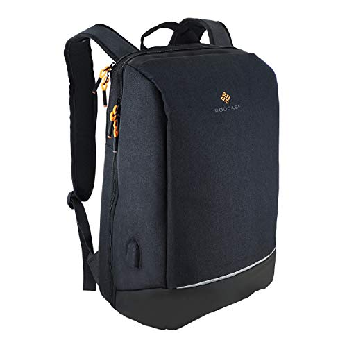 rooCASE Balboa Laptop Backpack - Business Travel Work Backpack for Men & Women - Fits 15.6 inch Laptop and Tablet - USB Charging Port/Water Repellent Fabric/Daily Backpack