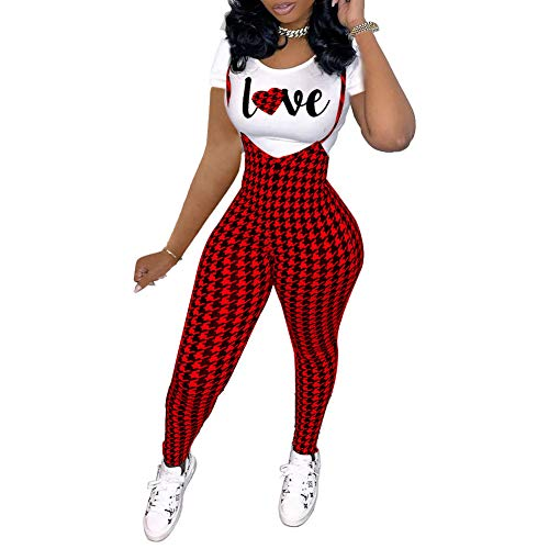 Yeshire Womens Sexy 2 Piece Outfits Crop Top and Pants Set Suspender Jumpsuits Overalls - - XL