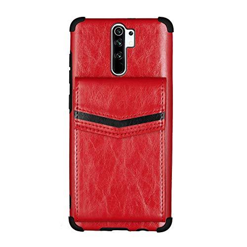 Nadoli Brieftasche Hülle für Xiaomi Redmi Note 8 Pro,Retro Kartenhalter PU Leder Stoßfest Zurück Bumper Cover Schnallen Geldbörse,Rot