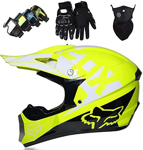 Pro niños adultos DH casco de motocicleta de cara completa (gafas, guantes, máscara) para MTB ATV scooter downhill offroad - DOT - con diseño de Fox