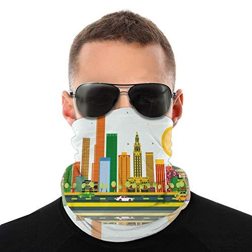 FULIYA Bufanda de cabeza variada, horizonte de la ciudad norteamericana con reflejo...
