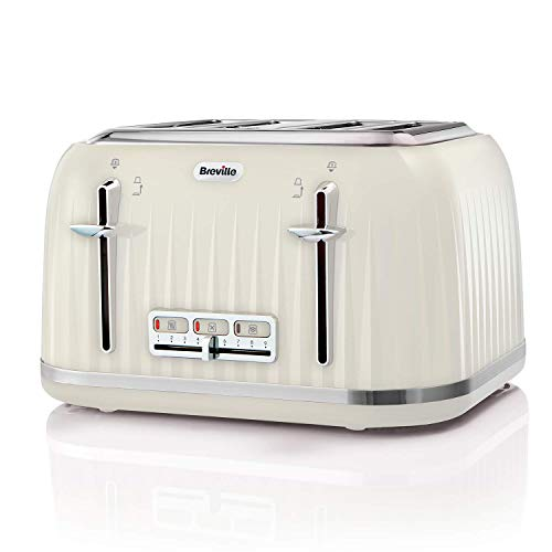 Breville VTT702 Impressions 4-Slice Toaster with High-Lift and Wide Slots, Cream (Renewed)