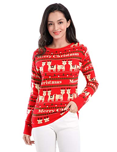 v28 Ugly Christmas Sweater for Women Vintage Funny Merry Tunic Knit Sweaters (Medium, Cute Alpaca Red)
