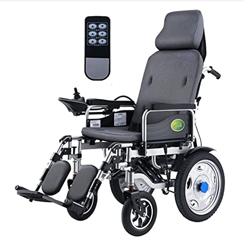 WXDP Autopropulsado Heavy Duty eléctrico con reposacabezas, plegable y ligera silla de ruedas eléctrica portátil con control remoto, energía eléctrica o manipulación manual, respaldo ajustable