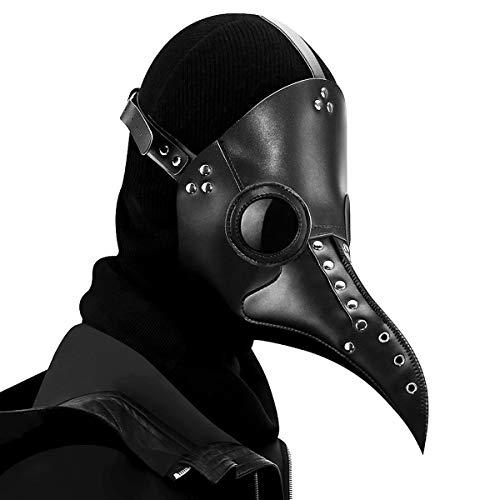 FIZZENN Máscara Medieval Negro Doctor de la Plaga Schnabel con la Nariz Larga gótica de Steampunk máscara de Cuero de Cosplay de Halloween Props de Navidad