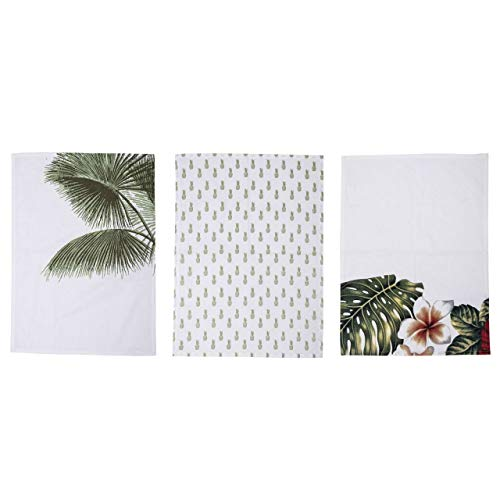 Bloomingville - Geschirrtuch - Küchentuch - Aruba - 3 er Set - Palmblatt-Motiv - Baumwolle
