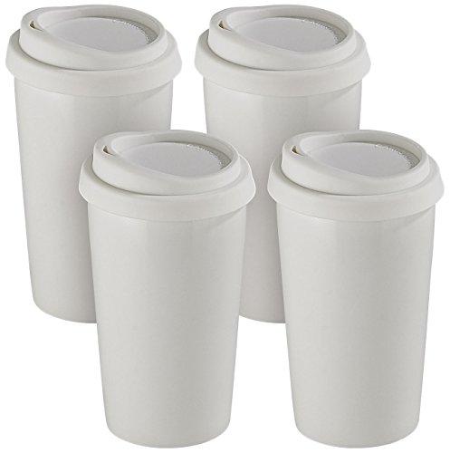 Rosenstein & Söhne Kaffeebecher: 4 Coffee-to-go-Becher aus Keramik, Silikondeckel, 250 ml, doppelwandig (Thermo-Becher)