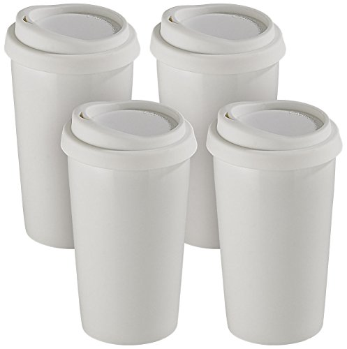 Rosenstein & Söhne Keramik Thermobecher: 4 Coffee-to-go-Becher aus Keramik, Silikondeckel, 250 ml, doppelwandig (Thermo-Becher)