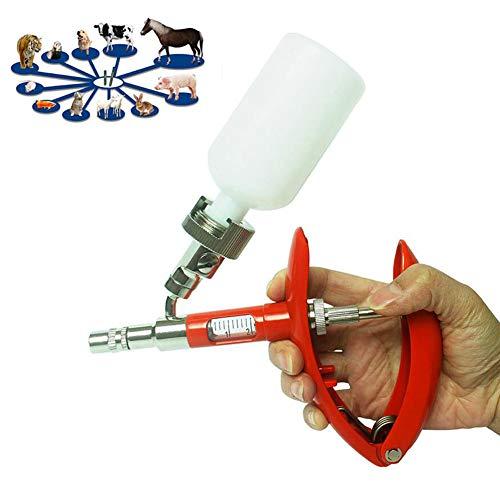 Jeringa veterinaria Inyector continuo ajustable para animales Jeringa autosuficiente para ganado Ganadería Pollo Oveja Cerdo 2 ml / 5 ml, adecuado para pollo, ganso, aves de corral La escala,5ml