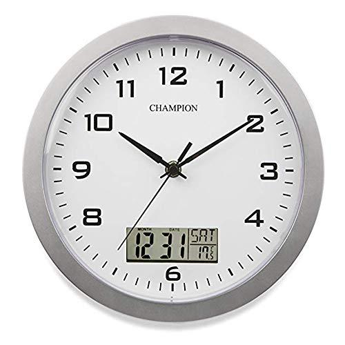 ZuiQianYan Day Clock - Reloj Digital Grande, Reloj de Pared con Fechador y Termometro, Marco Metalico 12 Pulgadas Silencioso Reloj (Color Plateado)