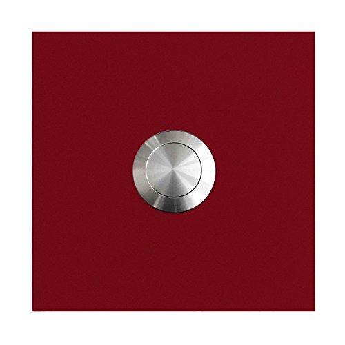 MOCAVI RING 110 Edelstahl-Design-Klingel purpur-rot matt RAL 3004 quadratisch, Klingeltaster