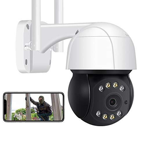 AINSS Cámara De Vigilancia Exterior,1080P HD Inalámbrica WiFi CCTV PTZ IP Cámara,Alarma De Voz DIY,Audio De 2 Vías,Seguimiento Automático,Visión Nocturna En Color,IP66 Impermeable [1080P-WIFI-Cámara]