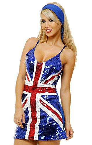 Charades Women's British Flag Sequin Costume Dress, Blue, Medium