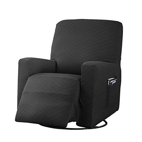 BEDSETS 1-Piece Stretch Recliner Chair Slipcover Spandex Jacquard Fabric Recliner Sofa Cover Stretch Sofa Protector for High Stretch Furniture Protector Cover for Recliner (Black)