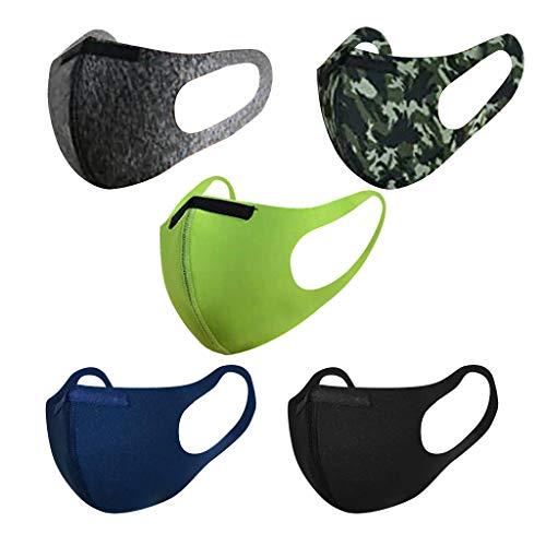 SUGUJU 5pcs Kids Face Mask Reusable Washable Breathable Cloth Face Masks for Kids Boys Girls Outdoor School