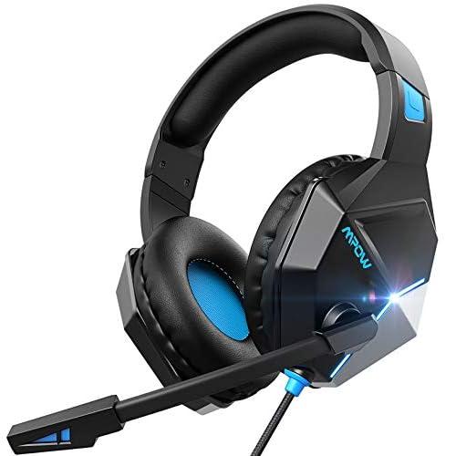 Mpow EG10 Cuffie Gaming per PS5 PS4, PC, Xbox One, Cuffie da Gaming con Microfono e Bass Stereo, Cuffie da Gioco con Cancellazione del Rumore, Controllo del Volume LED per Switch/MAC/Laptop(blu)