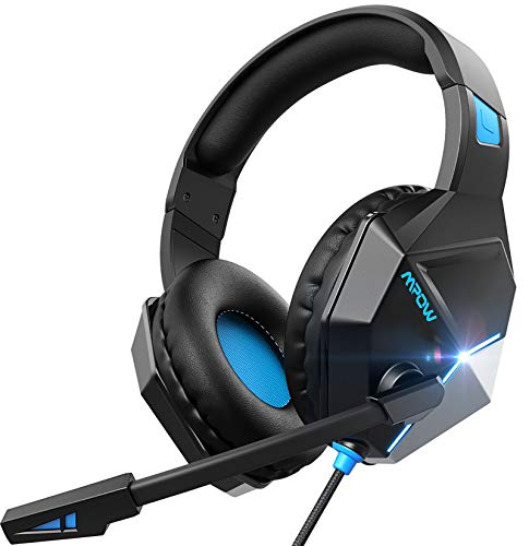 Mpow EG10 Cuffie Gaming per PS5 PS4, PC, Xbox One, Cuffie da Gaming con microfono e Bass stereo, Cuffie da gioco con Cancellazione del rumore, Controllo del volume LED per Switch/MAC/Laptop(blu)