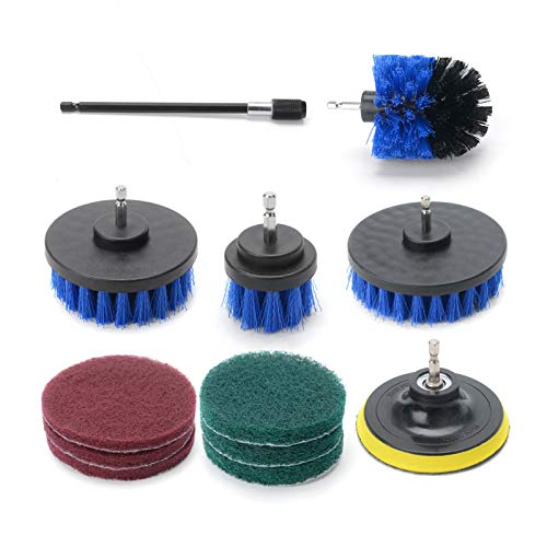 ColdShine 12PCS Cleaning Brush Set Drill Brush Electric Accessory Kit Scrubbe Cleaning Carpet Cleaning Brush Multi-Function Drill Brush Kit For Cleaning Carpets Blue
