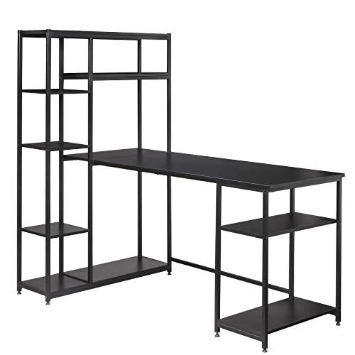 Zzaoxin Estanterías Escritorio de oficina, escritorio de madera para computadora de estilo industrial, escritorio de estación de trabajo con estantería, mesa de trabajo de fácil montaje con estantes d