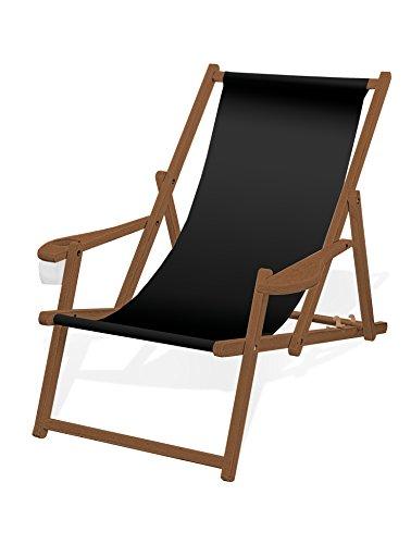 Holz-Liegestuhl mit Armlehne und Getränkehalter, Klappbar, mit dunkelbrauner Lasur, Wechselbezug (Schwarz)