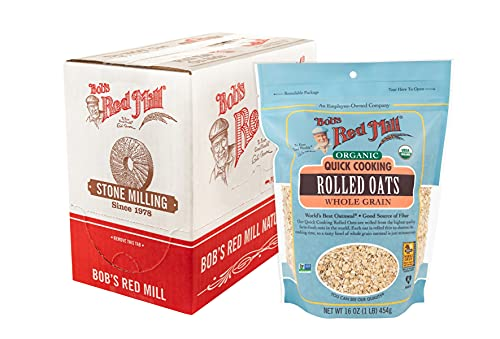 Bob's Red Mill Organic Quick Cooking Rolled Oats, 16-ounce (Pack of 4)