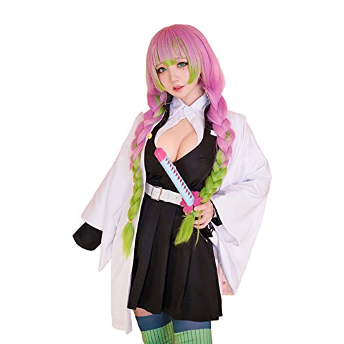 HOLOUN 鬼滅の刃 コスプレ衣装 コスチューム 仮装 和風 着物 可愛い 文化祭 cosplay小物 道具 祭り 贈り物 (XL, 甘露寺-女性)