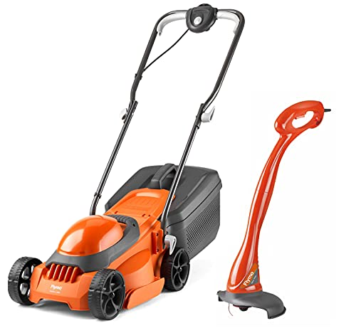 Flymo EasiMow 300R Lawn Mower and MiniTrim Grass Trimmer - 30 cm Cutting Width, 30 Litre Grass Box, Close Edge Cutting, Rear Roller, Comfortable to Manoeuvre, Lightweight